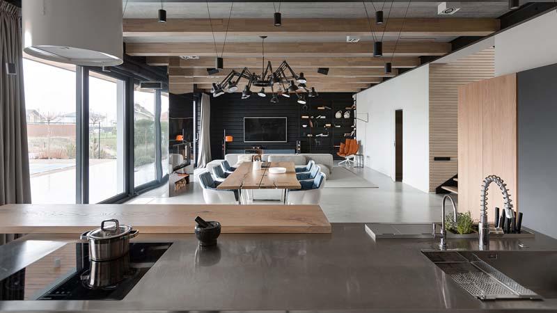moderne woonkamer betonvloer