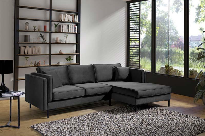 mooie goedkope hoekbank velvet lounge hoekbank