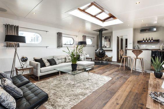 Mooie woonkamer ideeën op een woonboot | Wooninspiratie