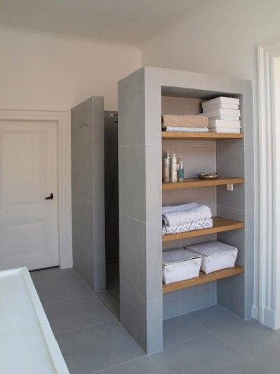 Open bergruimte in de badkamer | Wooninspiratie