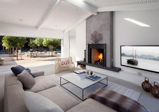 Open haard en tv-meubel in één   Wooninspiratie