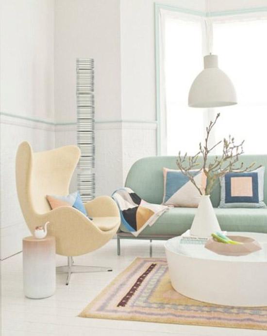 Pastelkleuren in de woonkamer