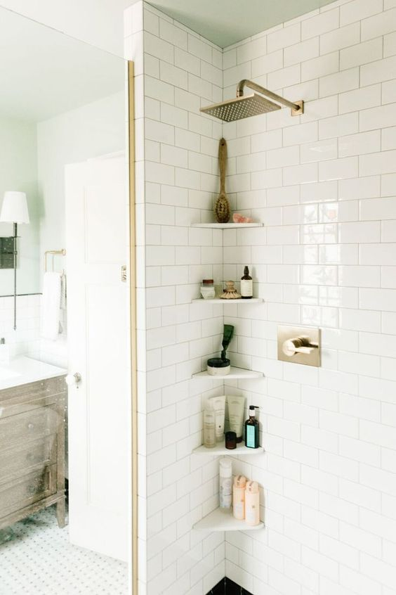 Planken hoek douche badkamer