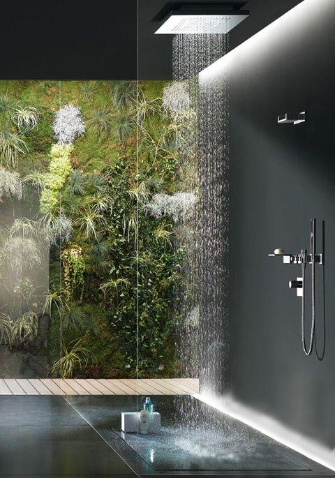 regendouche minimalistisch met natuur