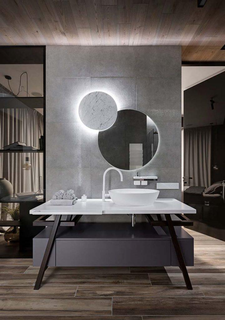 ronde spiegel moderne badkamer