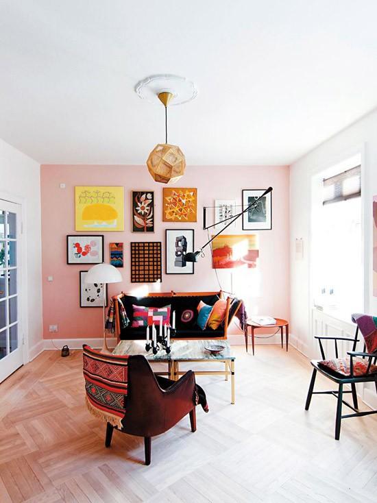 Roze muur   Wooninspiratie