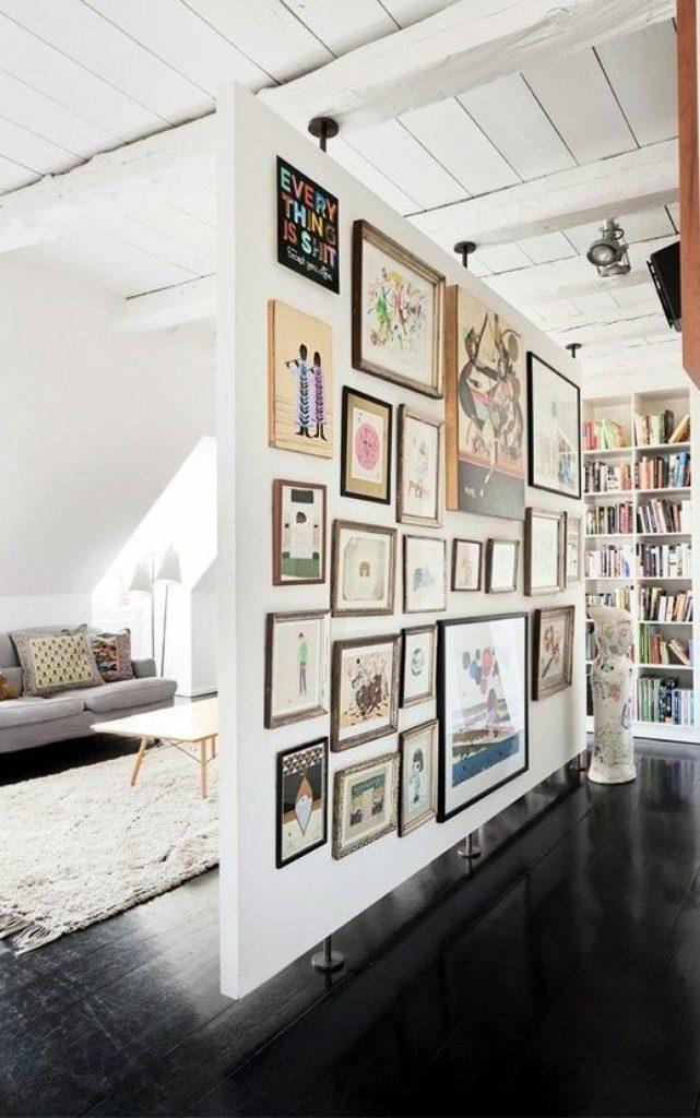 ruimtelijke roomdivider collage lijsten