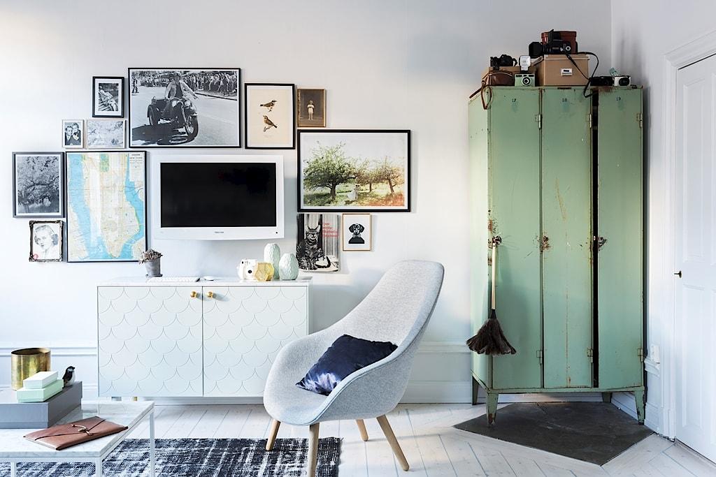 Scandinavisch appartement van zweedse trouwfotograaf in een vintage