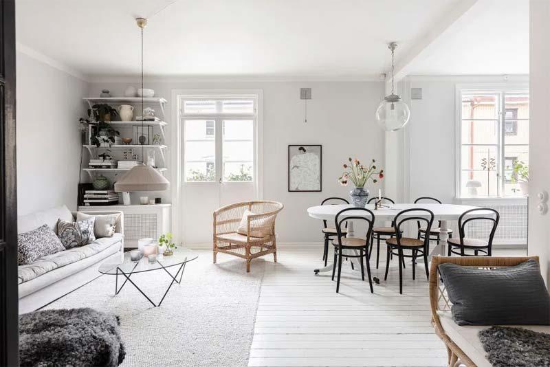 scandinavisch interieur woonkamer licht
