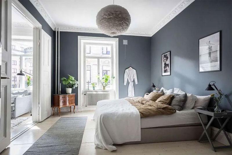 slaapkamer blauwe muur