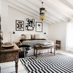 Slaapkamer met zwart witte details