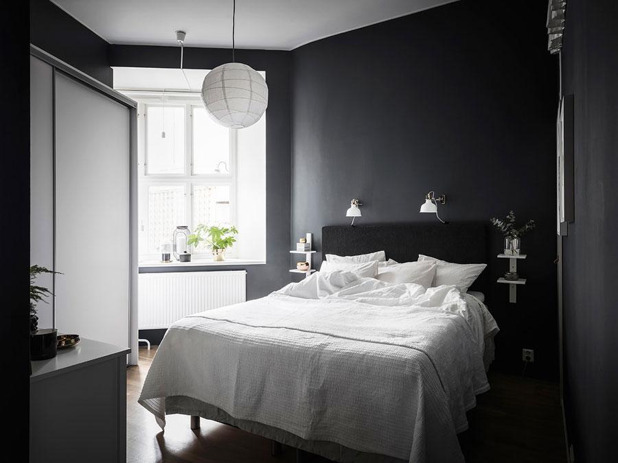 Zwarte Slaapkamer Muur : Stoere scandinavische slaapkamer met zwarte muren wooninspiratie