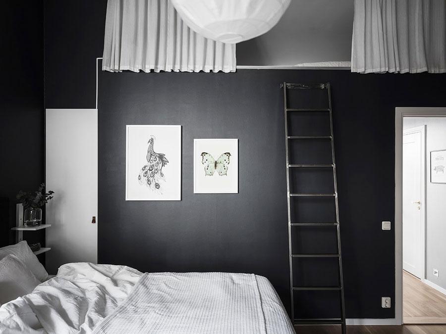 Slaapkamer Zwarte Muren : Stoere scandinavische slaapkamer met zwarte muren wooninspiratie