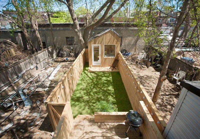 Tuinhuis werkplek kleine tuin