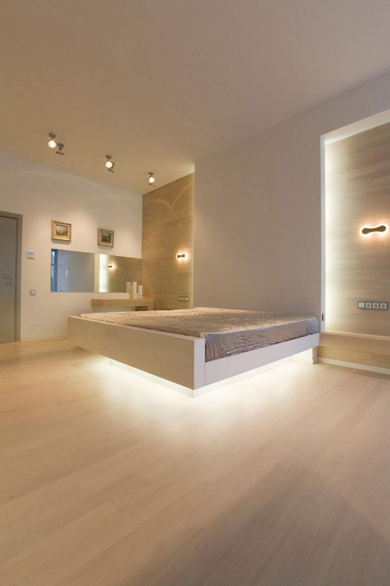 verlichting onder bed en achter hoofdbord