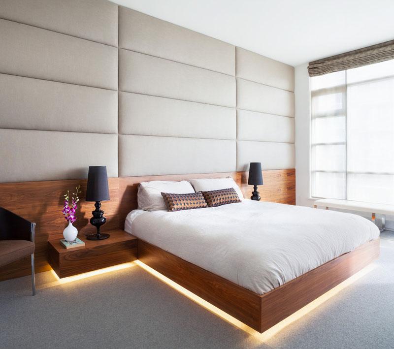 verlichting onder bed en nachtkastjes
