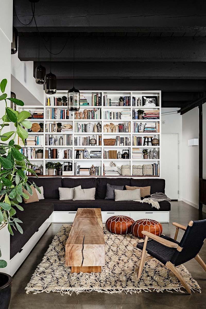 woonkamer inspiratie gekleurd plafond