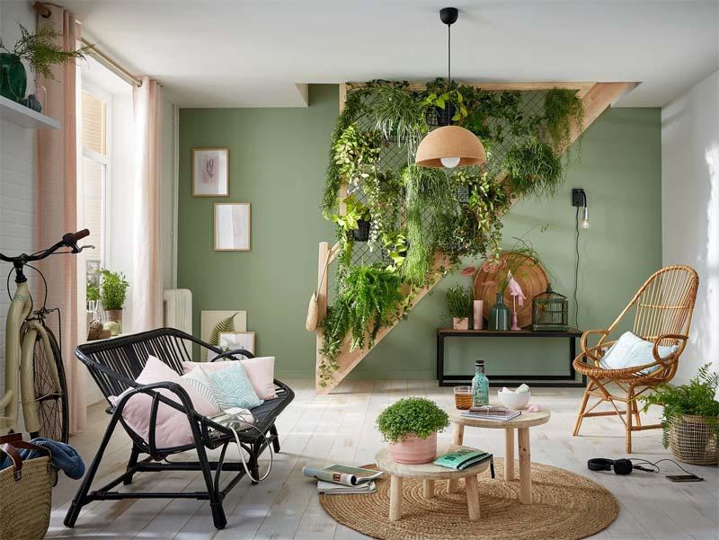 woonkamer inspiratie groen verticaal