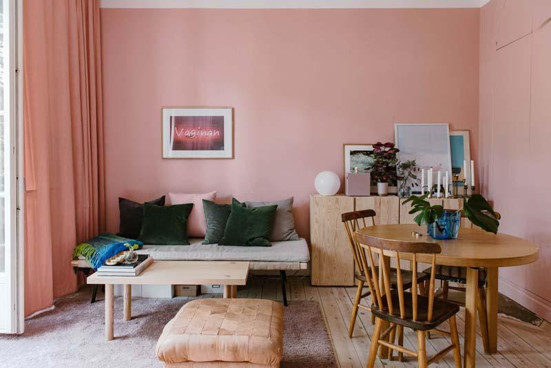 woonkamer inspiratie roze