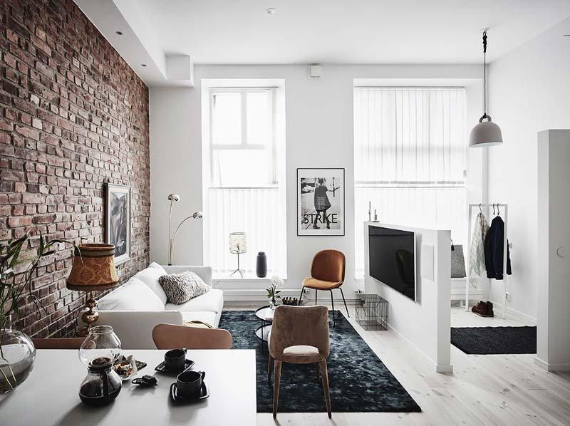 woonkamer inspiratie stenen muur