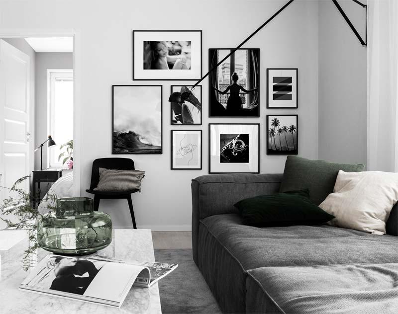 woonkamer inspiratie zwart wit grijs