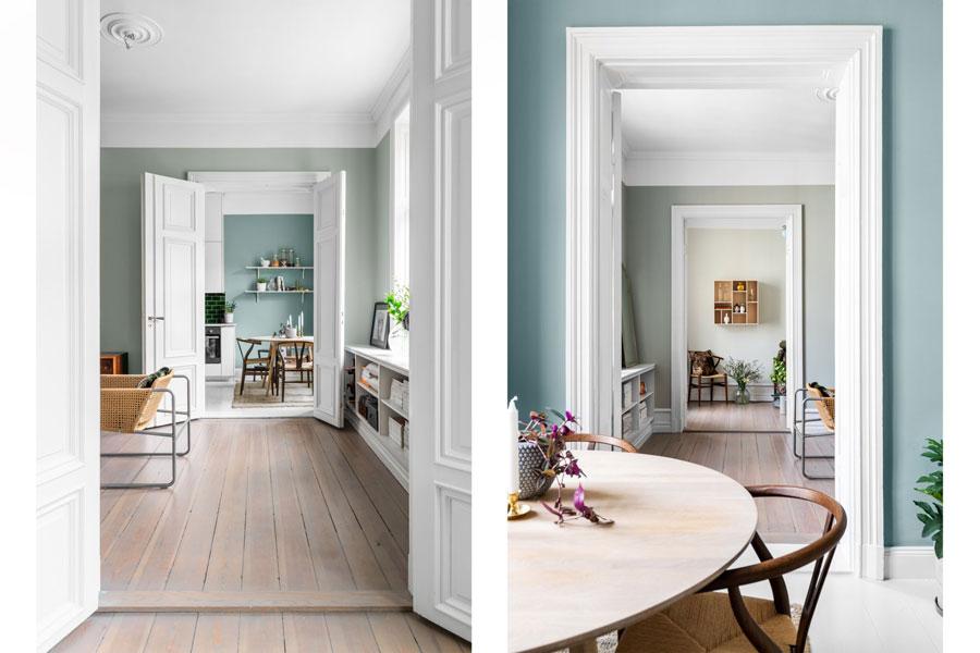 Woonkamer Klein Appartement : Woonkamer met mintgroene muren in een klein appartement