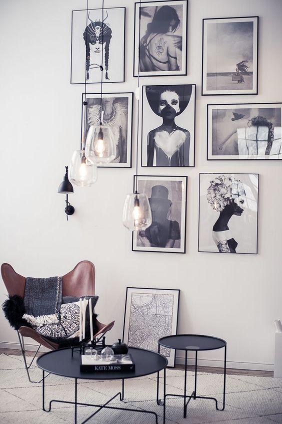 Zwart wit foto's in huis