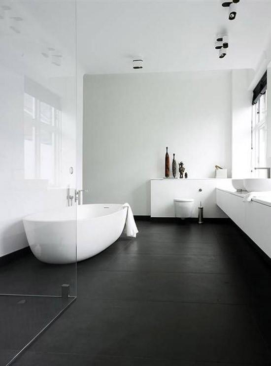 Zwart wit minimalistische badkamer  Wooninspiratie