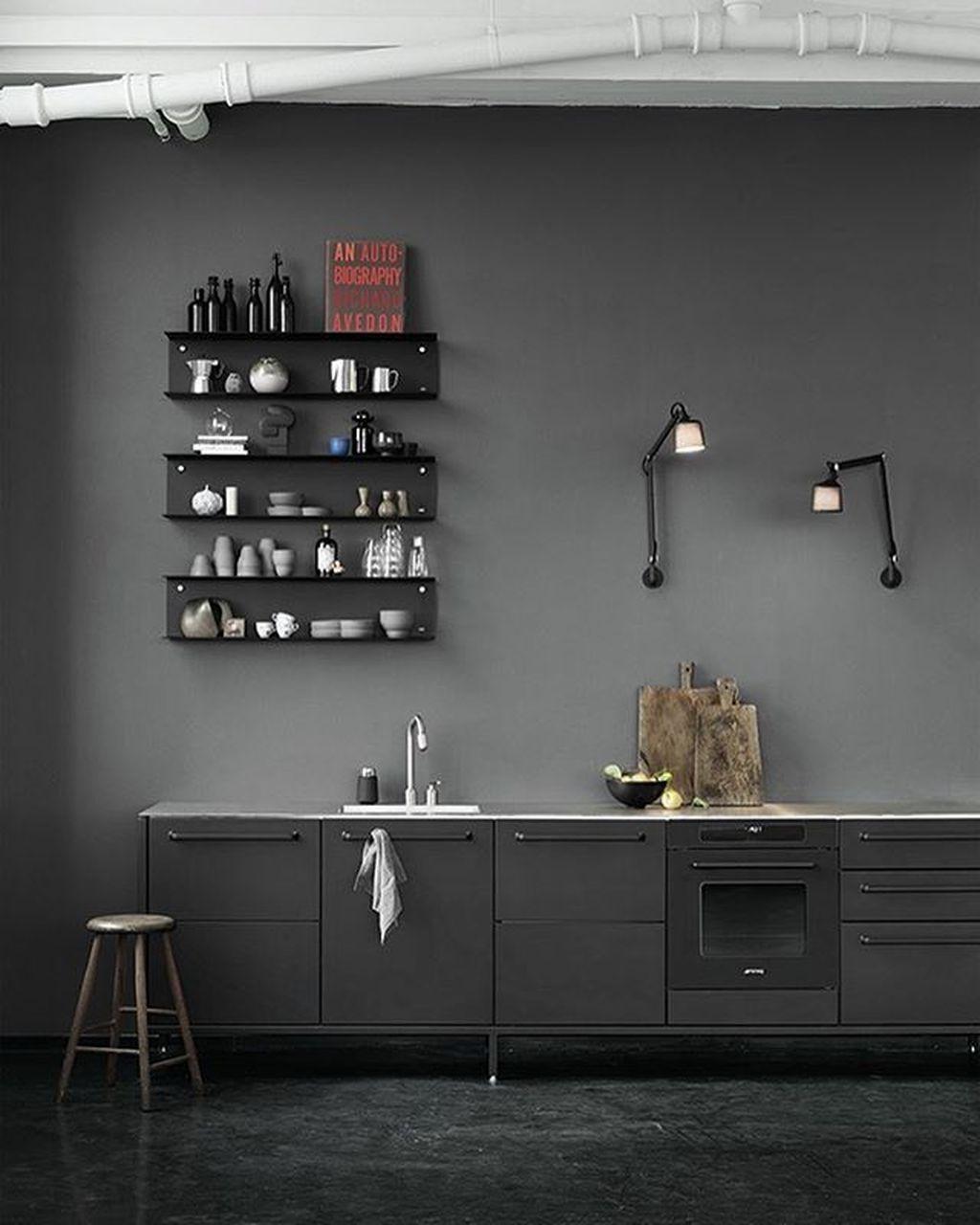 zwarte keuken industrieel stoer